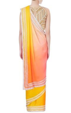 orange ombre sari with blouse & petticoat