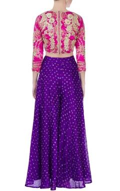 pink blouse & purple palazzo pants