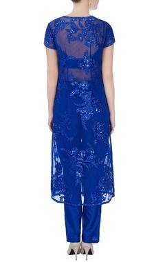 blue sequin embroidered jacket set
