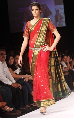 Red embroidered sari & blouse