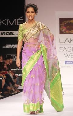 Purple embroidered sari & blouse