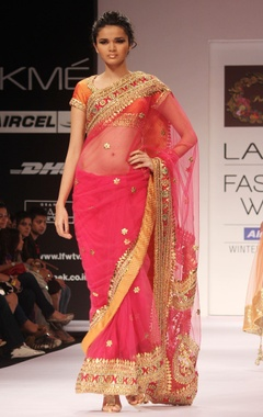 fushica pink embroidered sari & blouse