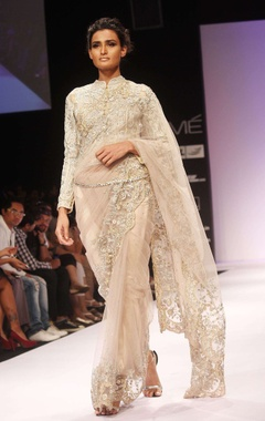 beige embroidered sari & blouse