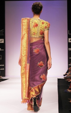 purple floral embroidered sari & blouse