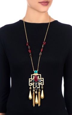multicolored stone long necklace