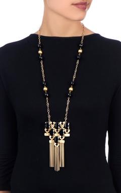Black stone work statement necklace