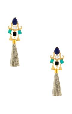 Masaya Jewellery Multicolored tassel long earrings