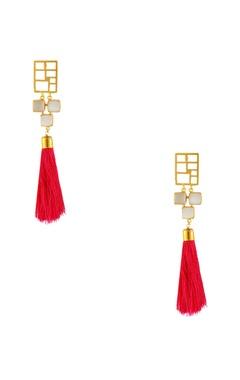Masaya Jewellery Gold plated pink tassel earrings