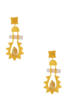 gold plated statement long earrings