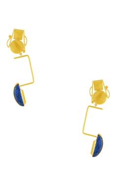 gold plated long statement earrings