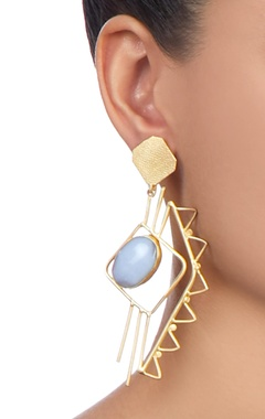 gold plated earrings with blue stonework