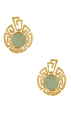 Masaya Jewellery Gold plated earrings with olive stones