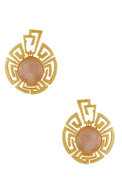 Masaya Jewellery Gold plated earrings with peach stones