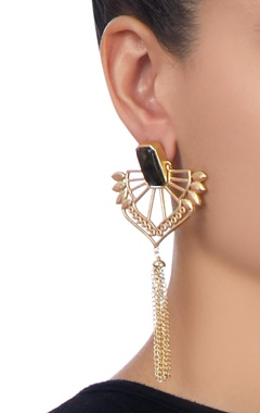 Gold plated black stone earrings
