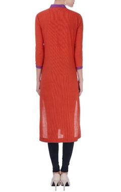 pink & red color-block cotton kurta