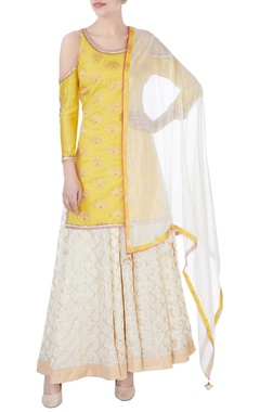 yellow cold shoulder kurta & palazzo set
