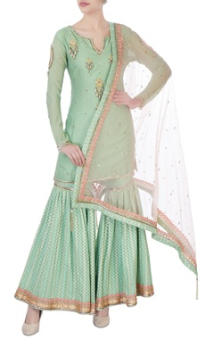 Green embellished kurta with sharara pants & dupatta