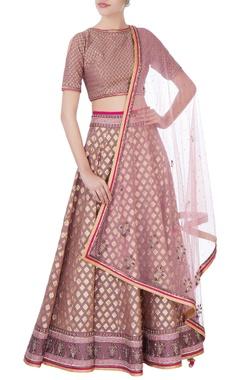 pink silk lehenga set