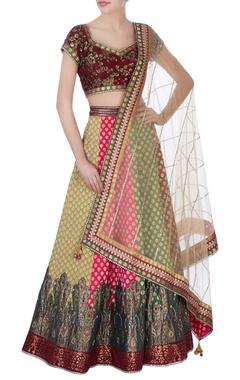 multicolored banarasi silk lehenga set