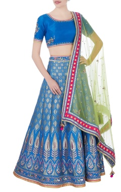 Blue banarasi silk lehenga set
