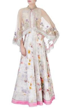 multicolored khadi cotton dress & cape