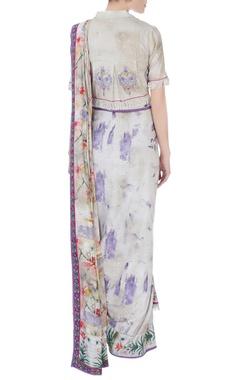 Purple concept sari with blouse & pants