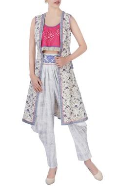 pink crop top & dhoti pants