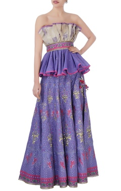 Purple & pink off-shoulder blouse & lehenga
