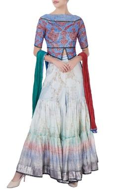 multicolored crop top & sharara pants with dupatta