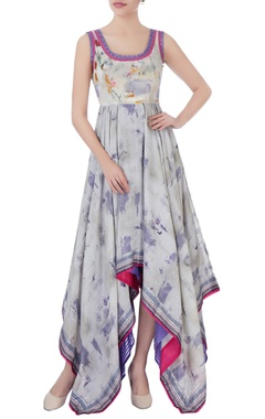 beige & purple printed maxi dress
