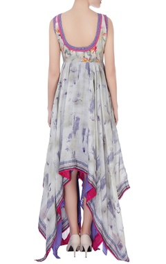 beige & purple printed maxi dress