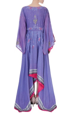 purple & pink floral embroidered maxi dress