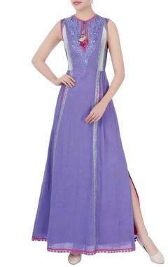 Purple bird motif embroidered dress