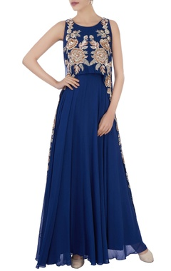 Aneesh Agarwaal Blue anarkali with cape layer