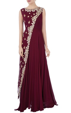 Aneesh Agarwaal Burgundy layered sequin gown