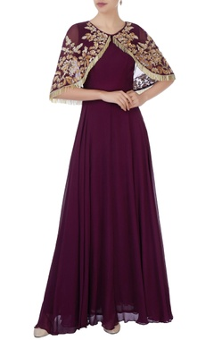 Aneesh Agarwaal Burgundy gown with tassel cape