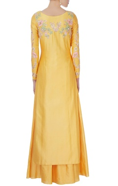 Yellow sequin kurta with lehenga & dupatta