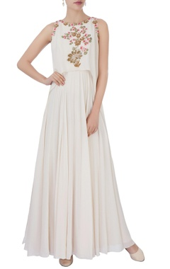 Aneesh Agarwaal White floral embroidered layered gown