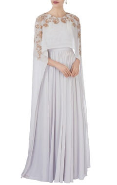 Aneesh Agarwaal White flowy cape style gown