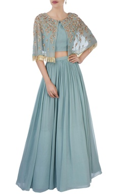 Aneesh Agarwaal Grey cape with pleated lehenga