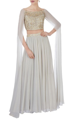Aneesh Agarwaal Grey sequin blouse & pleated lehenga