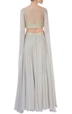 Grey sequin blouse & pleated lehenga