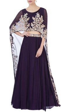 Aneesh Agarwaal Purple high waist lehenga & cape