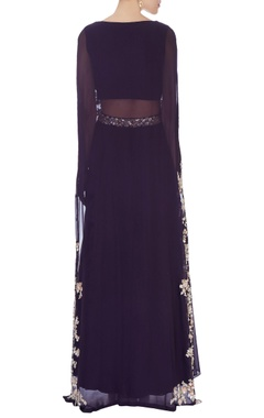 Purple high waist lehenga & cape