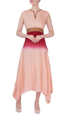 red zari embroidered midi dress