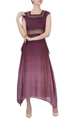 wine zari embroidered midi dress