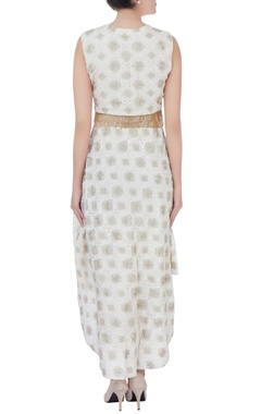white high low embroidered dress