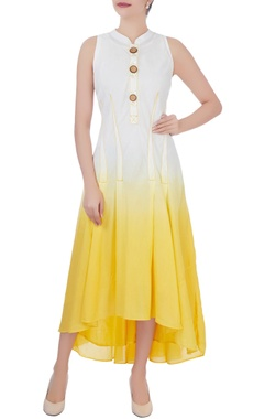 yellow pleated high low dress