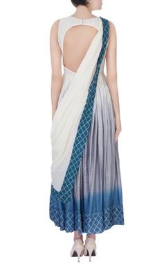 white& blue embroidered anarkali set