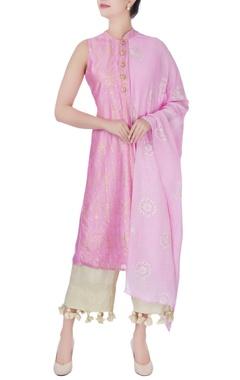 pink printed tunic with narrow pant